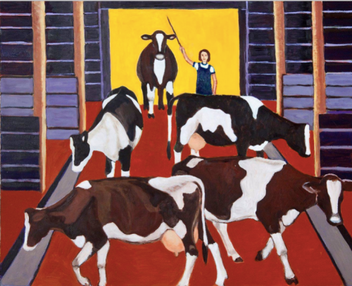 cows coming into the barn by joanne gullachsen