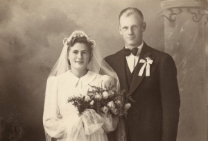 Dave's Mom and Dad on their wedding day.