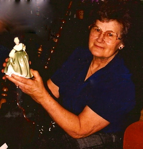 Dave's Mom with one of the Royal Doulton Figurines she loved to collect