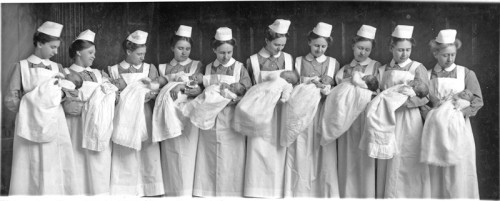deaconesses with babies at bethel hospital 1915