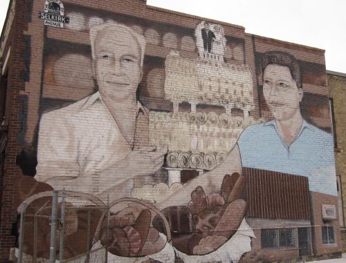 parents gunn's bakery mural