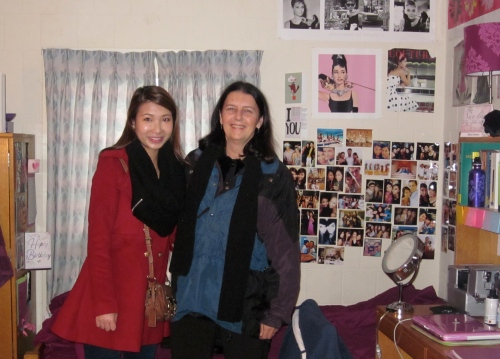 with rosanna in dorm room