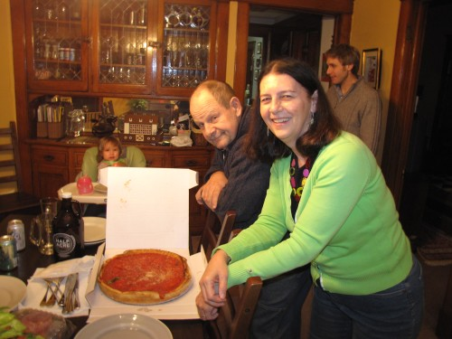 Enjoying Chicago style pizza at Kelly's home