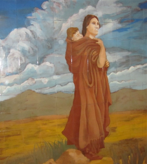 sacagawea and son mural iowa