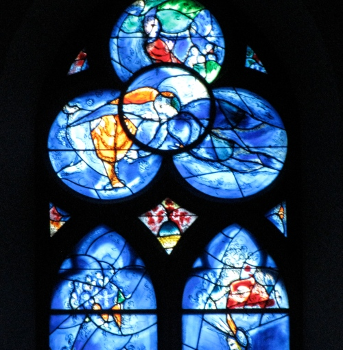 A stained glass window created by Jewish artist Chagall for a church in Mainz Germany as a way to bring people together after World War II