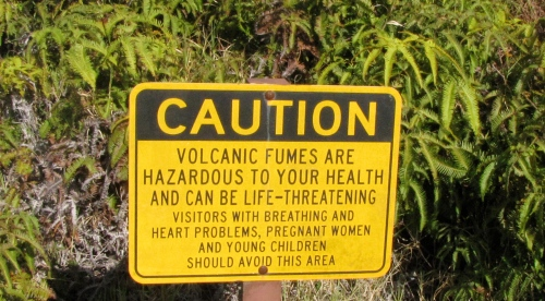 warning sign volcanoes national park big island hawaii