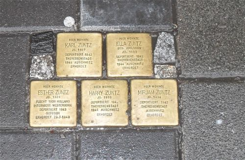 Photo I took of stumbling stones in Frankfurt Germany. They are placed outside the homes of people who died in the Holocaust. 11 million people died in the Holocaust.