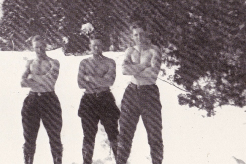 Three young men. My father-in-law and two of his buddies in a camp for conscientious objectors during World War II