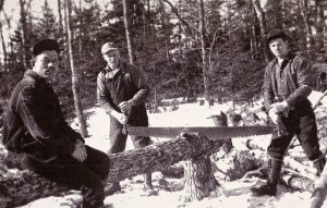 Dave's Dad working in a logging camp for conscientious objectors because his pacifist beliefs meant he refused military service in World War II