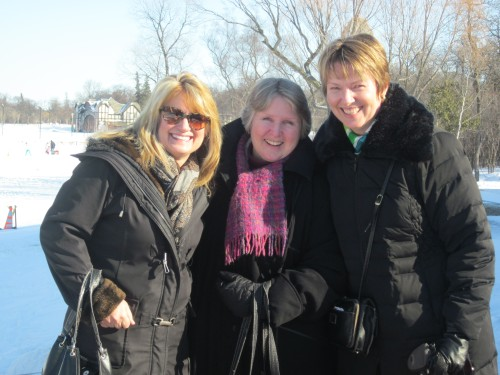 Three of my dear friends at Assiniboine Park in March 2012