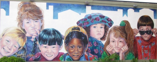 mural of children broadway avenue saskatoon by denyse klette