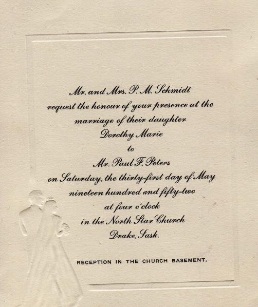 wedding invitation from 1952