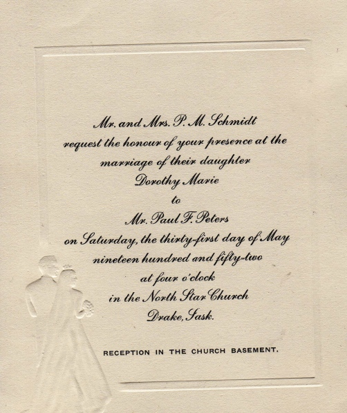 wedding invitation from 1952
