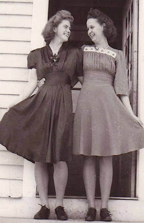 young girls in the 1940's in dresses they sewed