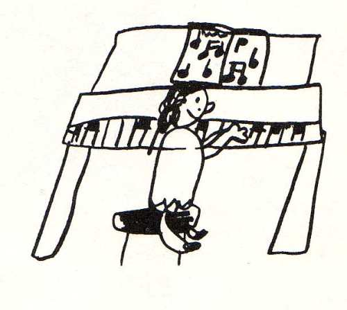 child's drawing of playing piano by bridget bernardi