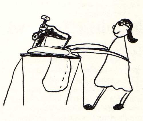 child's drawing of mother sewing by bridget bernardi