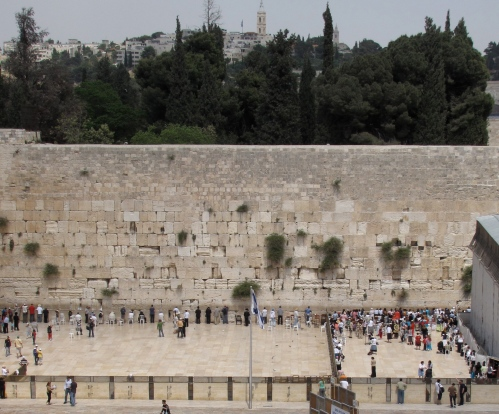 Photo I took at the Wailing Wall that shows the much smaller and more crowded women's section on the right