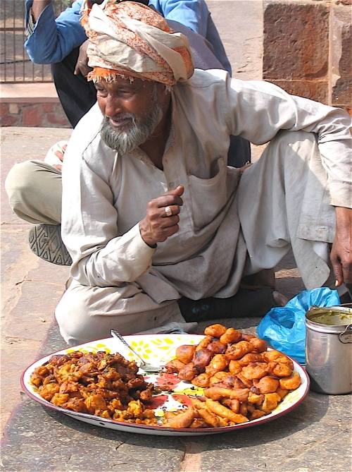 Spciy meat vendor in Agra India