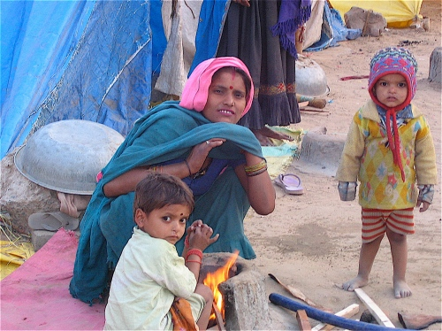 beggars at a gypsy camp in jaipur