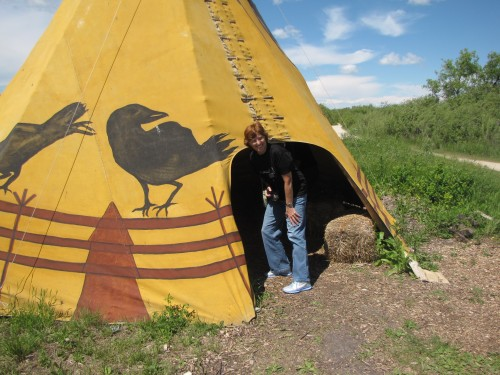 entering a tipi at fort whyte