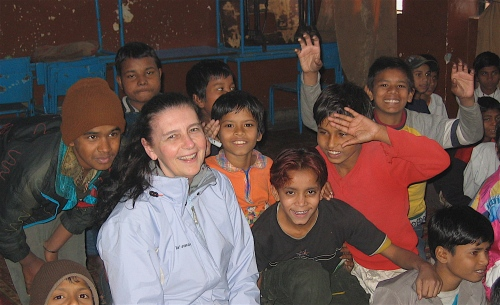 canadian visitor with children at salaam barakk trust dehli