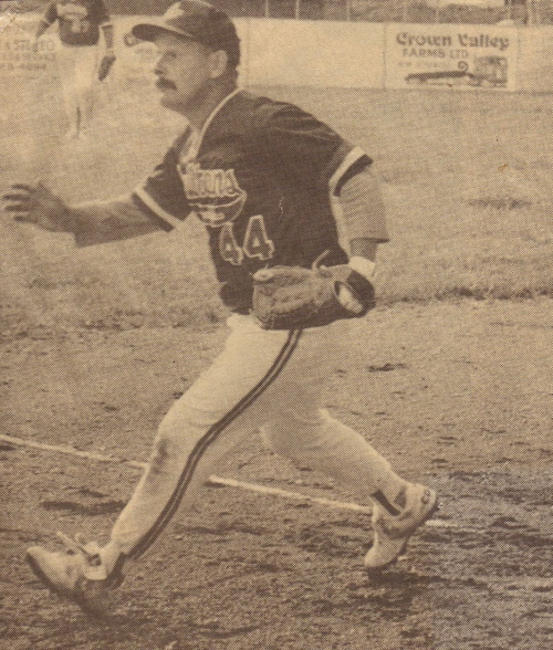 My husband during his ball playing days for the Steinbach Stealers many years ago- photo courtesy of the Carillon