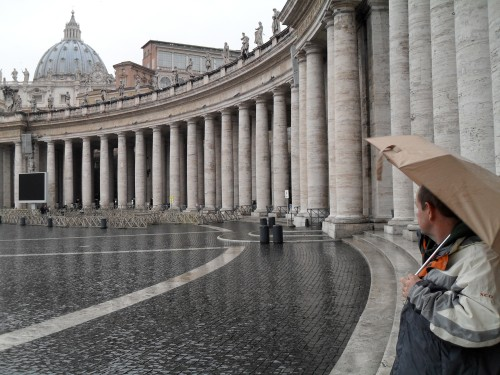 Dave standing in the rain outside The Vatican