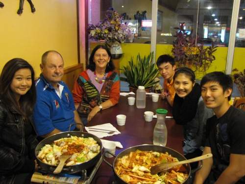 meal with students at korean restaurant