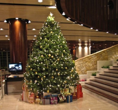 Christmas in the lobby of our apartment block in Hong Kong