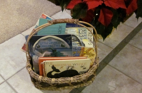 basket of children's christmas books
