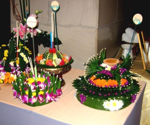 Beautifully decorated Loy Krathong rafts on display in our Chiang Mai hotel lobby
