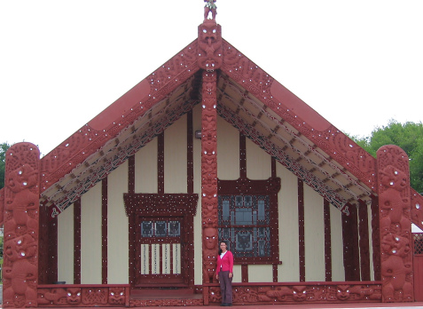 outside a maori meeting house