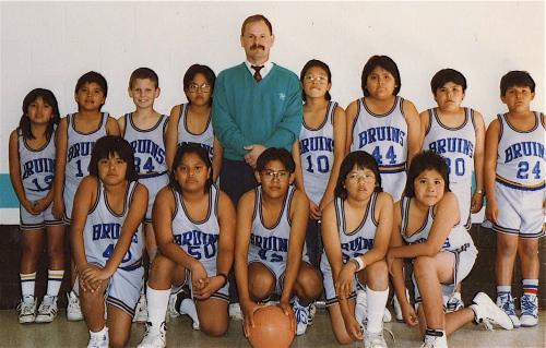 My husband with the Hopi basketball team he coached