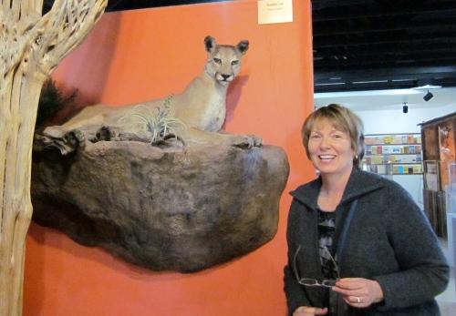 posing with a puma