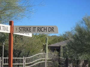 strike it rich street sign gold canyon arizona