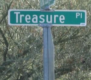 treasure place street sign gold canyon arizona