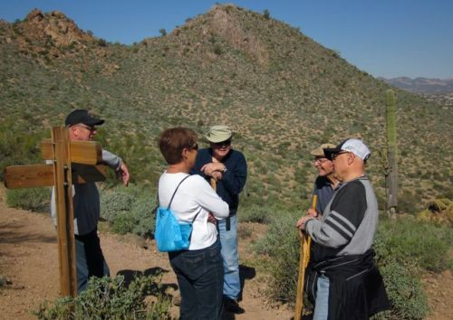 chatting with fellow hikers on silly mountain