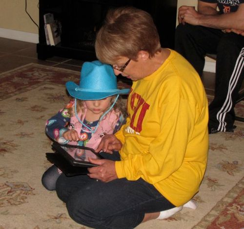 Grandma Shirley gets some technological help from her granddaughter