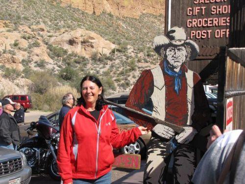 woman with cowboy cutout tortilla flats