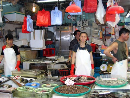 Fish seller in a Hong Kong Wet Market
