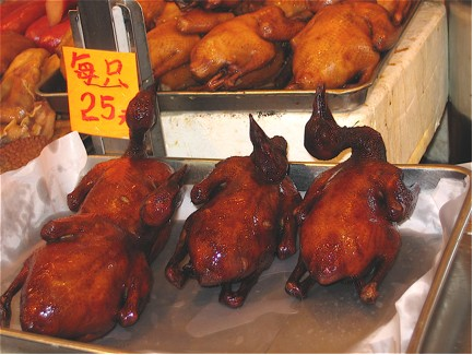 Roasted Chickens in the Hong Kong Wet Market