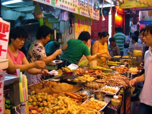 Snacks for sale in Hong Kong Wet Market