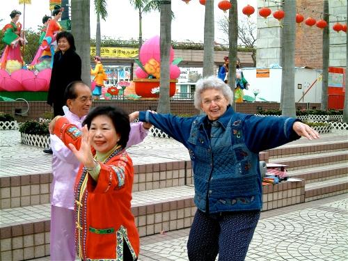 Mom doing Tai chi in Hong Kong