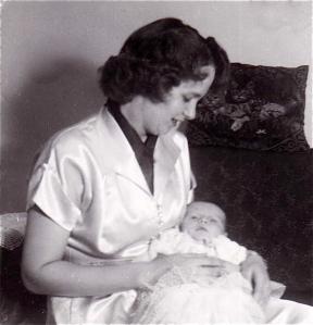 mom holding newborn 1953