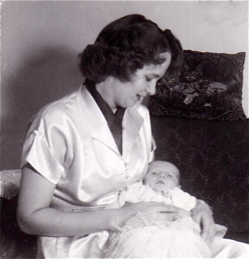 mom holding newborn 1953