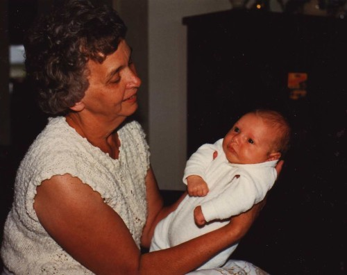 My Mom with one of her grandchildren just after they were born