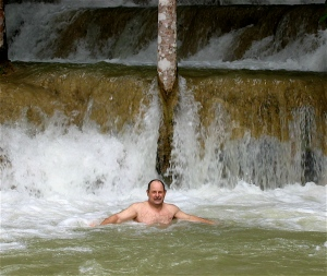 dave in laos waterfall tad se
