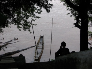 boater on mekong in laos
