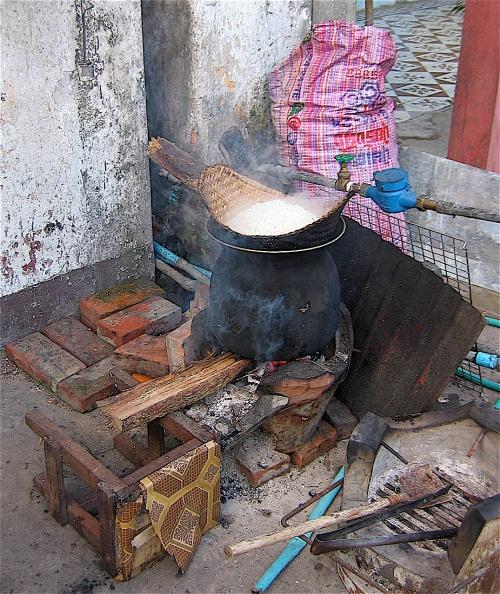 preparing sticky rice in laos