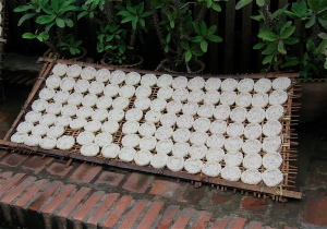 rice cakes drying in laos